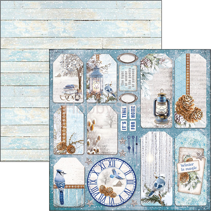 WINTER TAGS - scrapbook papier 12x12inch