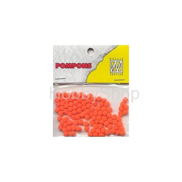 Mini bambuľky -pompons_3mm_100ks_neon orange