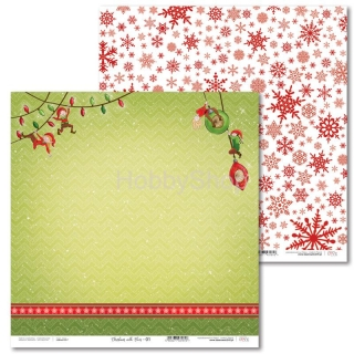 Christmas with Elves -01 scrapbook papier 12x12 inch