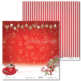 Christmas with Elves -03 scrapbook papier 12x12 inch