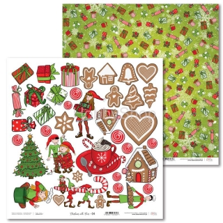 Christmas with Elves -04 scrapbook papier 12x12 inch