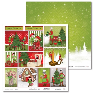 Christmas with Elves -06 scrapbook papier 12x12 inch