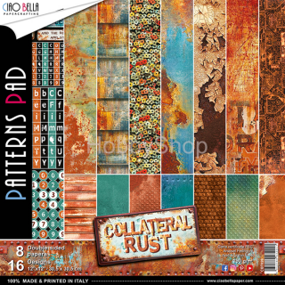 "COLLATERAL RUST ""basic""- sada 8ks scrapbook papierov 12x12 inch"