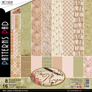 "THE MUSE ""basic"" - sada 8ks scrapbook papierov 12x12 inch"