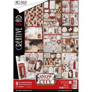 "SNOW AND THE CITY ""creative pad"" - sada 9ks scrapbook papierov A4"