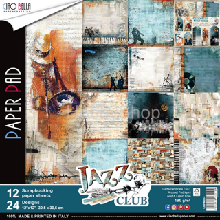 JAZZ CLUB - sada 12ks scrapbook papierov 12x12 inch