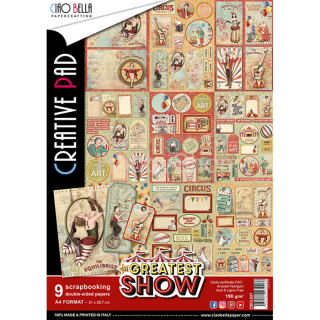 "THE GREATEST SHOW ""creative pad"" - sada 9ks scrapbook papierov A4"