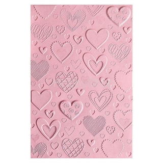 Sizzix • 3-D Textured impressions embossing folder hearts embossovacia kapsa
