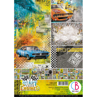 "START YOUR ENGINES ""creative pad"" - sada 9ks scrapbook papierov A4"
