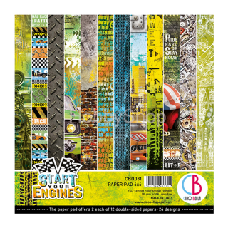 START YOUR ENGINES - sada 24ks scrapbook papierov 6x6inch