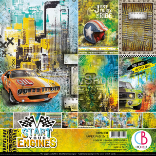 START YOUR ENGINES - sada 12ks scrapbook papierov 12x12 inch
