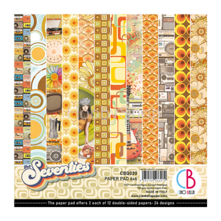 THE SEVENTIES - sada 24ks scrapbook papierov 6x6inch