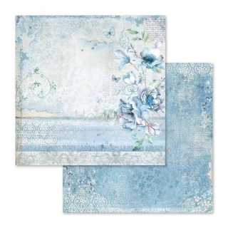 Blue Land - kvety / scrapbook papier 12x12 inch