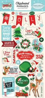 Santa´s Workshop - Carta Bella - chipboards Phrases / 28 ks