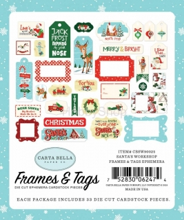 Santa´s Workshop- Carta Bella -  Frames& Tags  papierové výrezy_33ks