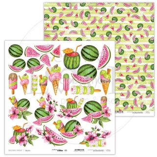 Watermelon Summer 03 scrapbook papier 12x12 inch