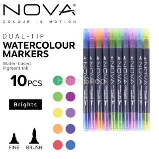 Trimcraft Nova Dual Tip Watercolour Markers Brights_10ks