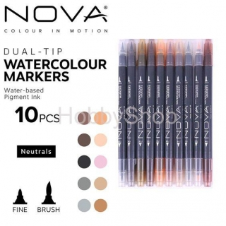 Trimcraft Nova Dual Tip Watercolour Markers NEUTRAL TONES_10ks
