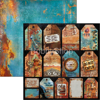 RUSTED TAGS - scrapbook papier 12x12inch