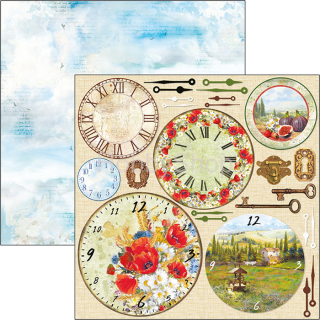 UNDER THE TUSCAN SUN - Clocks - scrapbook papier 12x12inch
