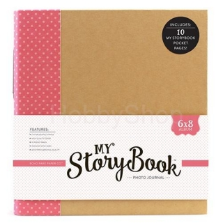 My Story Book - Photo Journal Album - pink dot 6x8