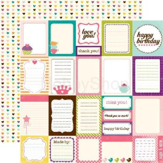 Echo Park Little Girl - Journaling cards - scrapbook papier 12x12 inch