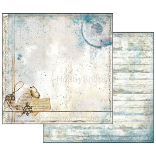 Blue Stars - Heart and Writings / scrapbook papier 12x12 inch