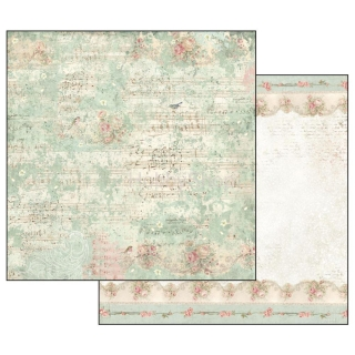Sweet Christmas - Music Notes and Sparrow / scrapbook papier 12x12 inch