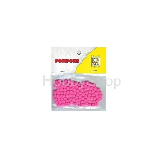 Mini bambuľky -pompons_3mm_100ks_neon pink