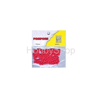 Mini bambuľky -pompons_3mm_100ks_red